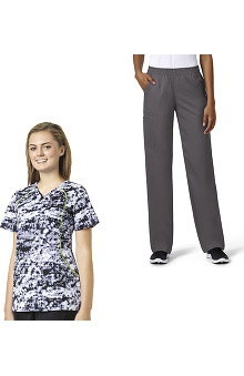 grace Exclusively at allheart Women's Sporty V-Neck Abstract Print Scrub Top & Boot Cut Scrub Pant Set