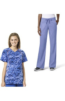 grace exclusively at allheart Women's Infrared Sporty V-Neck Scrub Top & Fla