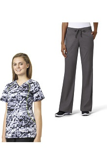 grace Exclusively at allheart Women's Sporty V-Neck Abstract Print Scrub Top & Flare Leg Scrub Pant Set