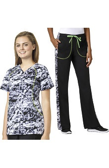 grace Exclusively at allheart Women's Sporty V-Neck Abstract Print Scrub Top & Flare Leg Printed Side Scrub Pant Set