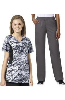 grace Exclusively at allheart Women's Mock Wrap Abstract Print Scrub Top & Boot Cut Scrub Pant Set