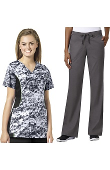 grace Exclusively at allheart Women's Mock Wrap Abstract Print Scrub Top & Flare Leg Scrub Pant Set