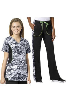 grace Exclusively at allheart Women's Mock Wrap Abstract Print Scrub Top & Flare Leg Printed Side Scrub Pant Set