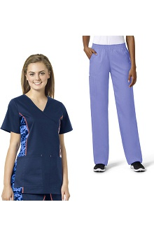 grace Exclusively at allheart Women's Mock Wrap Printed Side Panel Scrub Top & Boot Cut Scrub Pant Set