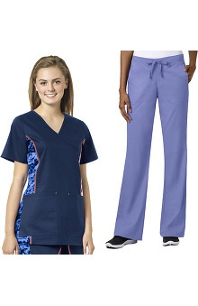 grace Exclusively at allheart Women's Mock Wrap Printed Side Panel Scrub Top & Flare Leg Scrub Pant Set