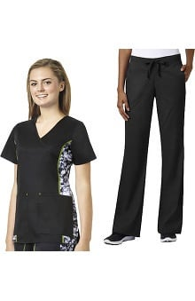 grace™ exclusively at allheart Women's Infrared Mock Wrap Scrub Top& Flare Leg Scrub Pant Set
