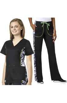 grace Exclusively at allheart Women's Mock Wrap Printed Side Panel Scrub Top & Flare Leg Printed Side Scrub Pant Set