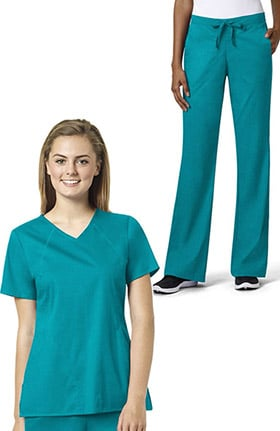 Grace Women's Sporty V-Neck Solid Scrub Top & Flare Leg Drawstring Scrub Pant Set