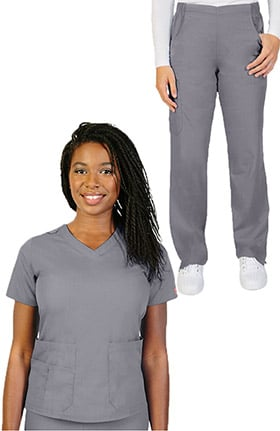 Ascent Women's V-Neck Scrub Top & Pull On Straight Leg Scrub Pant Set