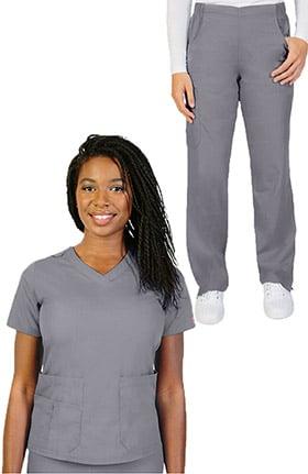 Ascent Women's V-Neck Scrub Top & Pull On Straight Leg Scrub Pant Set