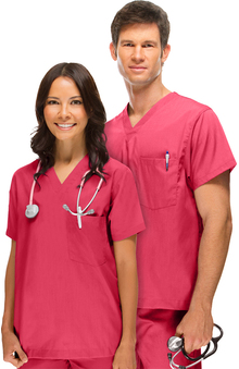 general hospital scrubs: allheart Scrub Basics Unisex Solid Scrub Top