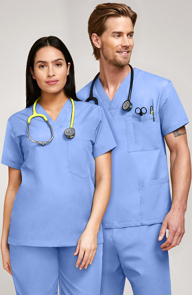 Basics by allheart Unisex V-Neck Solid Scrub Top
