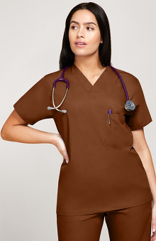 4XL: allheart Scrub Basics Women's 3-Pocket Solid Scrub Top