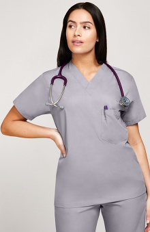 XXS: allheart Scrub Basics Women's 3-Pocket Solid Scrub Top