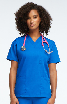 MED: allheart Scrub Basics Women's 3-Pocket Solid Scrub Top