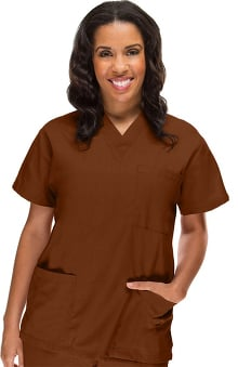 unisex tops: allheart Scrub Basics Women's 3-Pocket Solid Scrub Top