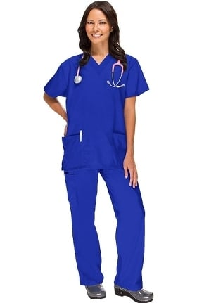 Clearance Basics by allheart Women's 2 Pocket Top and Cargo Pant Scrub Set