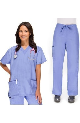 Basics by allheart Women's V-Neck Top and Cargo Pant Scrub Set