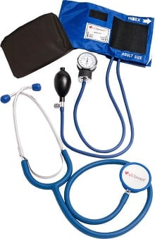 stethoscopes: allheart Blood Pressure Aneroid And Dual Head Stethoscope Combination Set - Nurse Kit Nurse Combo Kit