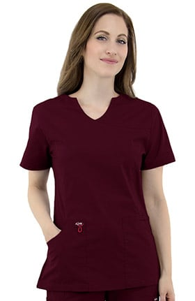 elate Women's Mock Wrap Solid Scrub Top