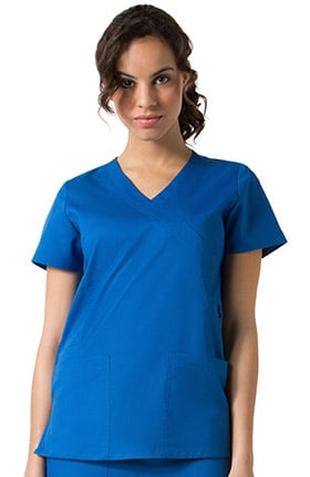 C3 Women's Mock Wrap Solid Scrub Top