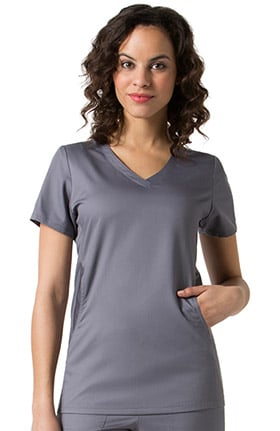 C3 Women's V-Neck Mesh Pocket Solid Scrub Top