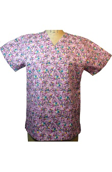 Clearance allheart Basics Women's V-Neck Heart Print Scrub Top