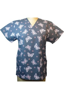 Clearance allheart Basics Women's V-Neck Country Butterfly Red Print Top