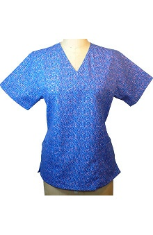 Clearance allheart Classics Women's Mock Wrap Animalistic Blue Print Top