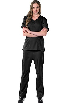 Clearance Avenue Scrubs Women's Antimicrobial Sweetheart Neck Top & Cargo Pant Scrub Set