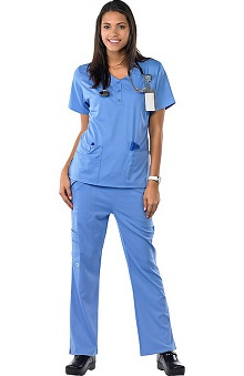 Clearance Avenue Scrubs Women's Antimicrobial Sweetheart Neck Top & Flare Leg Pant Scrub Set