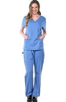 Clearance Avenue Scrubs Women's Antimicrobial Mock Wrap 2 Pocket Top & Cargo Pant Scrub Set