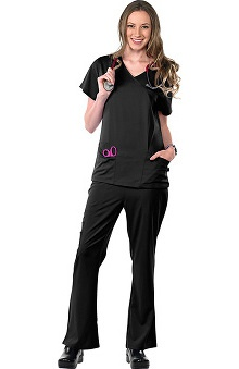 Clearance Avenue Scrubs Women's Antimicrobial Mock Wrap 2 Pocket Top & Flare Leg Pant Scrub Set