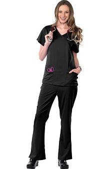 Clearance Avenue Scrubs Women's Antimicrobial Mock Wrap 2 Pocket Top & Flare Leg Pant Scrub Set