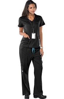 Clearance Avenue Scrubs Women's Antimicrobial Mock Wrap Top & Flare Leg Pant Scrub Set