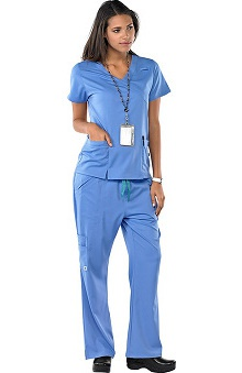 Clearance Avenue Scrubs Women's Antimicrobial Mock Wrap Top & Flare Leg Pant Scrub Set