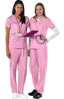 Clearance Avenue Scrubs Women's Antimicrobial V-Neck 2 Pocket Top & Drawstring Pant Scrub Set