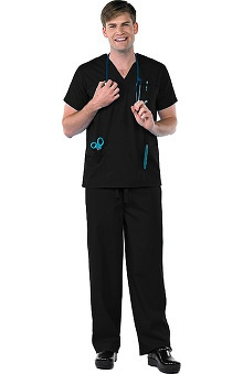 Clearance Avenue Scrubs Men's Antimicrobial V-Neck 3 Pocket Top & Drawstring Pant Scrub Set