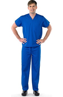 Clearance Avenue Scrubs Unisex Antimicrobial V-Neck Top & Drawstring Pant Scrub Set