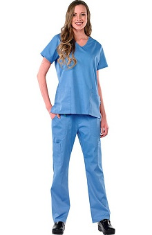 Clearance Avenue Scrubs Women's Antimicrobial V-Neck Top & Cargo Pant Scrub Set