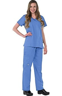 Clearance Avenue Scrubs Women's Antimicrobial V-Neck Top & Elastic Waist Pant Scrub Set