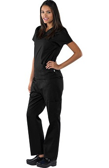 Clearance Avenue Scrubs Women's Antimicrobial Mock Wrap Top & Cargo Pant Scrub Set