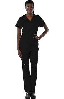 Clearance Avenue Scrubs Women's Antimicrobial Mock Wrap Top & Elastic Waist Pant Scrub Set