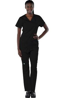 Clearance Avenue Scrubs Women's Antimicrobial Mock Wrap Top & Elastic Waist Pant Scrub Set