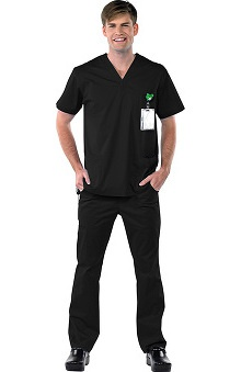 Clearance Avenue Scrubs Men's Antimicrobial V-Neck Top & Cargo Pant Scrub Set