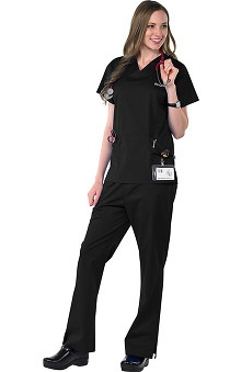 Clearance Avenue Scrubs Women's Antimicrobial Princess Seam Top & Flare Leg Pant Scrub Set