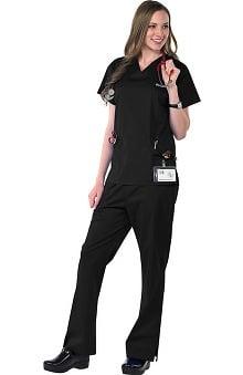 Clearance Avenue Scrubs Women's Antimicrobial Princess Seam Top & Flare Leg Pant Scrub Set