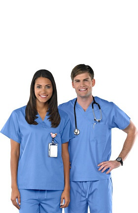 Clearance Avenue Scrubs Unisex Antimicrobial V-Neck Solid Scrub Top
