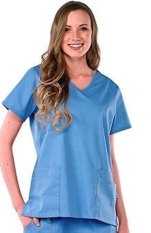 Clearance Avenue Scrubs Women's Antimicrobial V-Neck 4 Pocket Solid Scrub Top