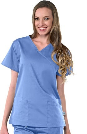 Clearance Avenue Scrubs Women's Antimicrobial Mock Wrap Solid Scrub Top